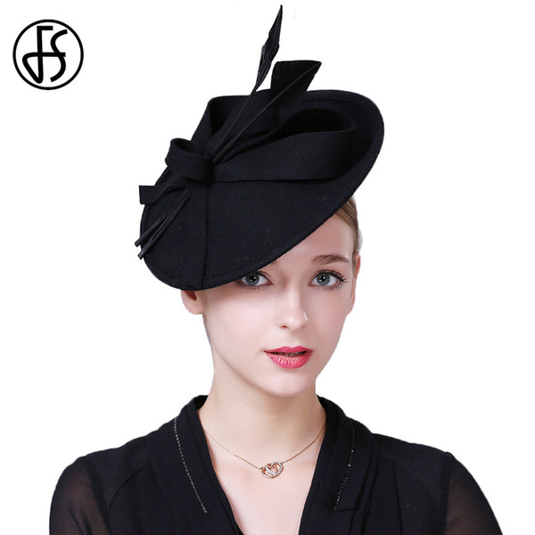 FS Fascinators Winter Hats For Women Elegant Black Wine Red Wool Felt Pillbox Hat Girls Lady Formal Wedding Dress Fedoras