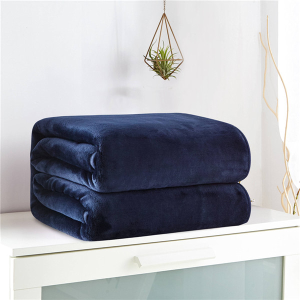 Velvet Fabric Solid Color Throw Blanket Baby Soft and Warm Thicken Blankets For Beds King Size Double-sided Use Bed Clothes