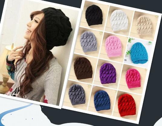 2018 Hot sales Fashion Women Men warm hat Knit Winter Warm Crochet Hat Braided Baggy Beret Beanie Cap