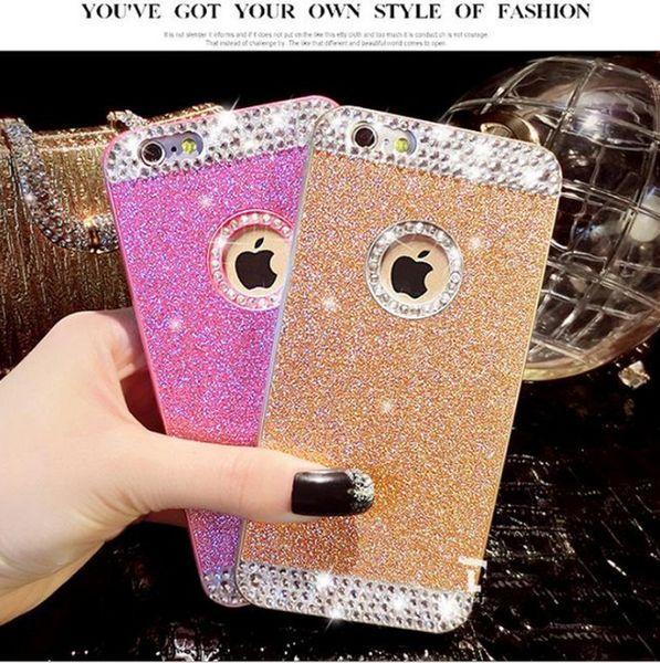 Caja de lujo del teléfono del brillo del diamante artificial del diamante para la caja universal del teléfono celular del iPhone X 8 7 6 Plus