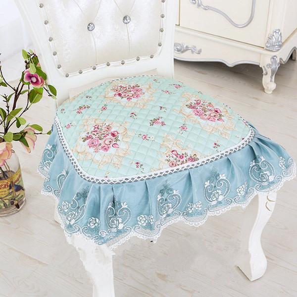 European Cushions Embroidered Decorative 2 pcs/set Four Strap Skid Stool Cushion Cotton Seat Chair Four Seasons Dining Chair Pad