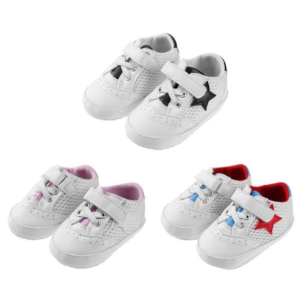 Baby Shoes Boys Girls PU Breathable Mesh Prewalkers Anti-Slip Soft Sole Toddlers Shoes Infant Newborn First Walkers Baby