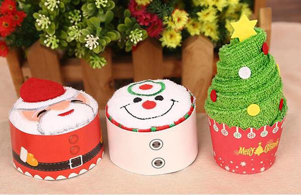 200 stücke Neue Mode Weihnachtsbaum Modellierung Kuchen Handtuch 100% Baumwolle Handtücher Party Favors Hochzeit Geburtstag Weihnachtsgeschenk Für Kinder