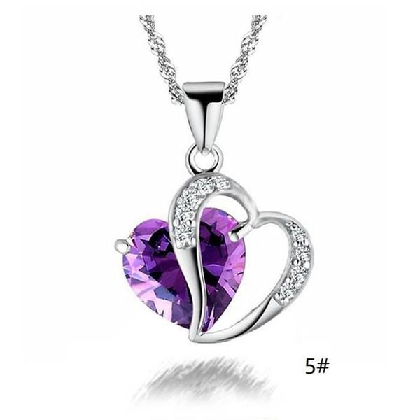 Новый оптовые продажи моды бренд женщин Щепка позолоченный импорт Циркон австрийский Кристалл сердце ожерелье ювелирные изделия a988