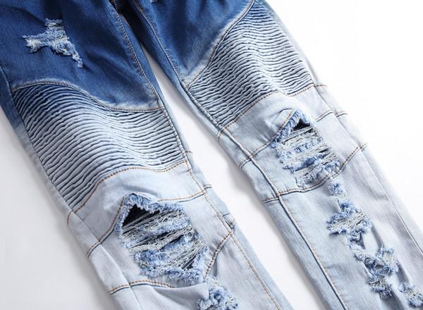 Jeans skinny Locomotiva da uomo Cerniera Primavera Jeans da uomo Elasticità Doppio colore Foro rotto Vita media Pantaloni strappati casuali Leggings XXS-XXXL