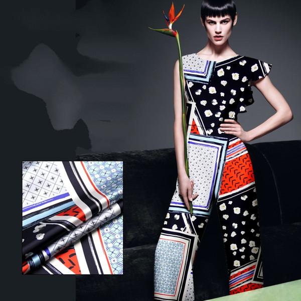 118 см шириной 19 мм 93% шелк 7% спандекс геометрия печати синий красный черный стрейч шелк атласная ткань для летнее платье одежда Cheongsam D953