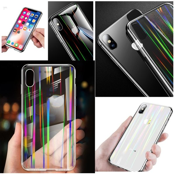 Laser Aurora Rainbow Transparent Phone Case 6D Tempered Glass Soft TPU Bumper Clear Back Cover For iPhone XS Max XR X 8 7 6 Plus