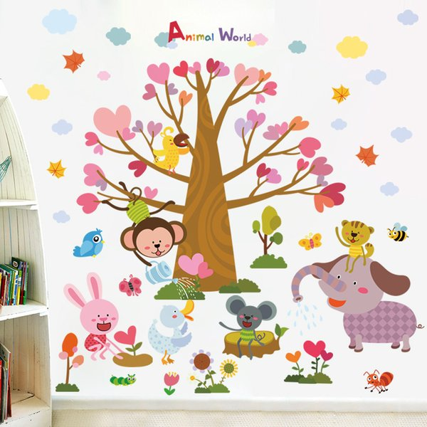 New XL8298 cartoon monkeys, elephants, small animals, trees, walls, children's rooms, bedroom, background, decorative stickers.