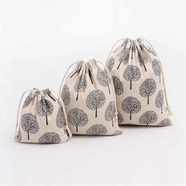 2 Size Korea Style Canvas/ Cotton Backpack Bag Shoe Travel Pouch Portable Drawstring Storage Bags High Quality