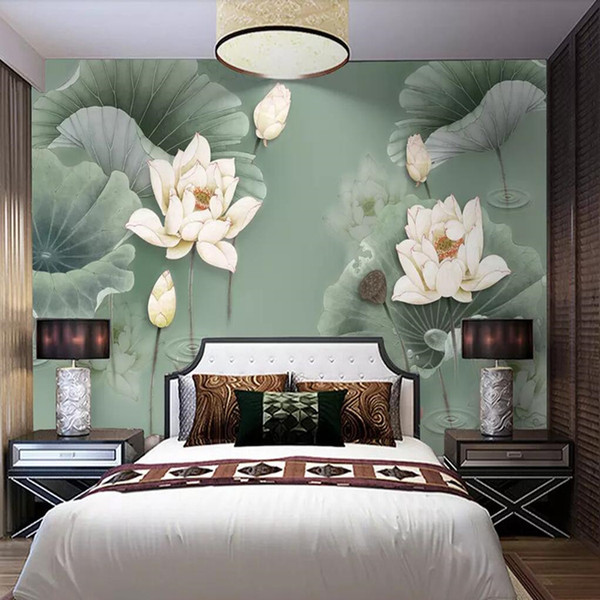 3d custom modern new Chinese wallpaper TV sofa background wall abstract ink lotus wallpaper mural wall covering