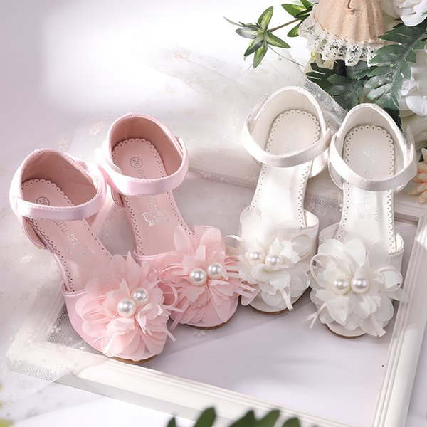 Girl satin dress shoes big boy (7 +) flower shoes/pink flower/ivory summer/autumn dress503-7