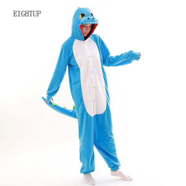 Felpa unisex per adulto Animal Blue Onesies di dinosauro Green Dragon Pigiama Pigiama Tuta Abbigliamento da notte Costumi di carnevale cosplay