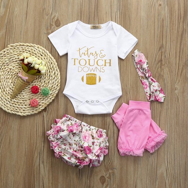 2018 new fashion baby girl clothes summer Cotton 4pcs Toddler Baby Girls Clothes Tops+Shorts+Headband+Leg Warmers Set Outfits