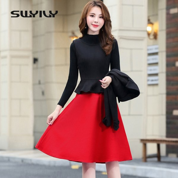 SWYIVY Dress Suits Woman Winter Spring Wool Jacket Coat Dress Suit Female M XXL 2XL Women's Plaid Suits For Ladies Casual