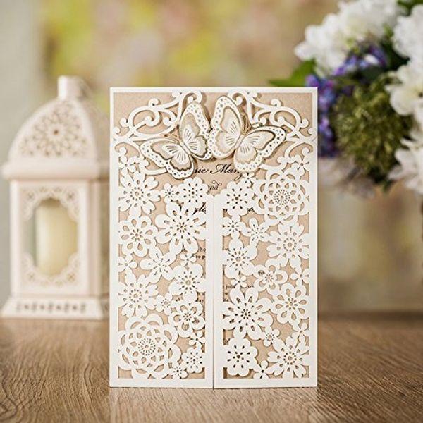WISHAMDE 50pcs Wedding Invitations Elegant 3D Butterfly Flower Laser Cut Invite Cards for Marriage Anniversary Bride Shower Birthday CW7085W