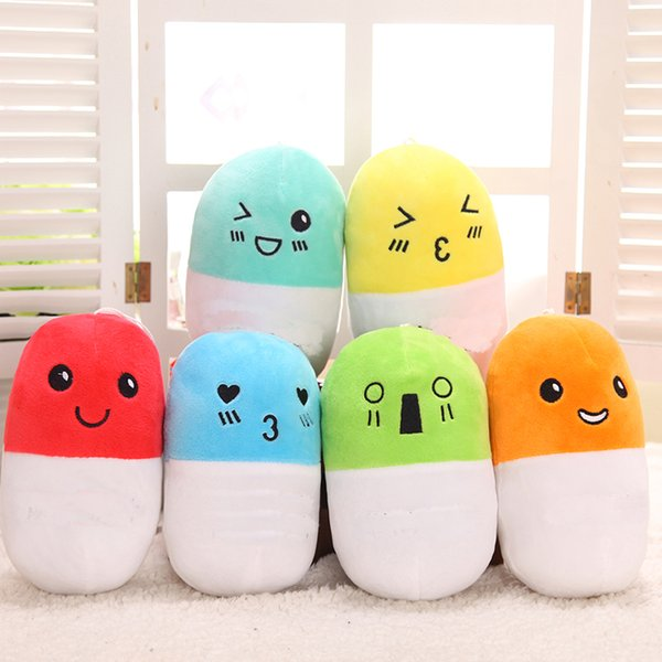 best selling 1pc 20 Cm Random Kids Adult Novelty Plush Stuffed Pill Shape Expressions Finger Puppets Pillows Educational Toys Birthday Gifts