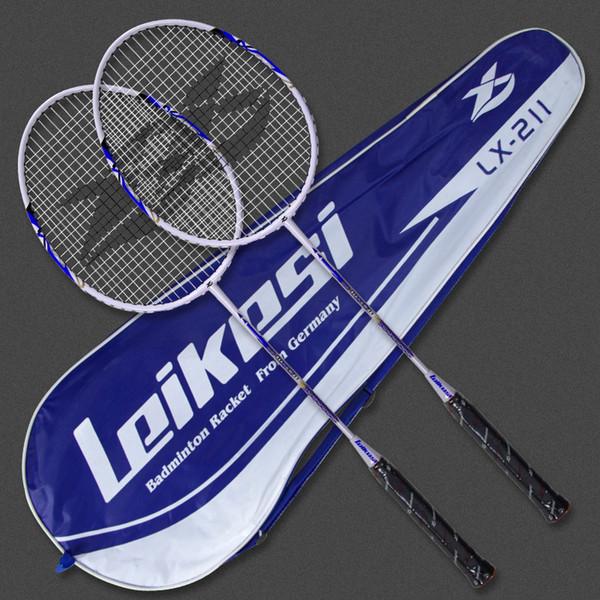 2 pcs Raquete de Badminton Peso Leve 100% De Fibra De Carbono Controle Fácil Professinonal Jogo Universal Training Racquet Gym Com Saco