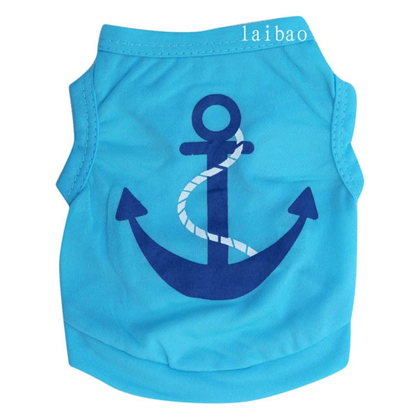 Full Polyester Ship Anchor Dog Cloth Blue Pink Red Lovers Style Pets Vest Spring And Summer Pet Supplies 3lb ff