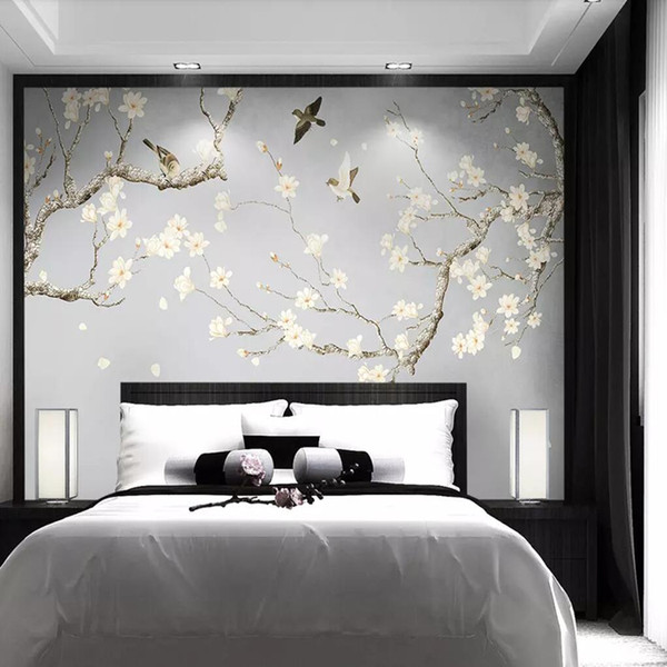 3d hand-painted jade orchid bird wallpaper new Chinese TV background wall painting fresh and elegant bedroom plain wallpaper