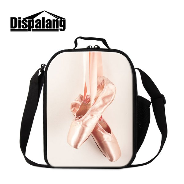 Dispalang stylish ballet toe shoes printing insulated lunch cooler bags for girls women lovely ballet cartoon lunch box for work
