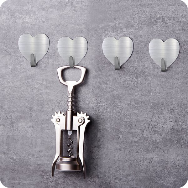 10pcs Multipurpose heart shape adhesive stainless steel wall hook hats Key hanger bathroom kitchen accessories home organizer