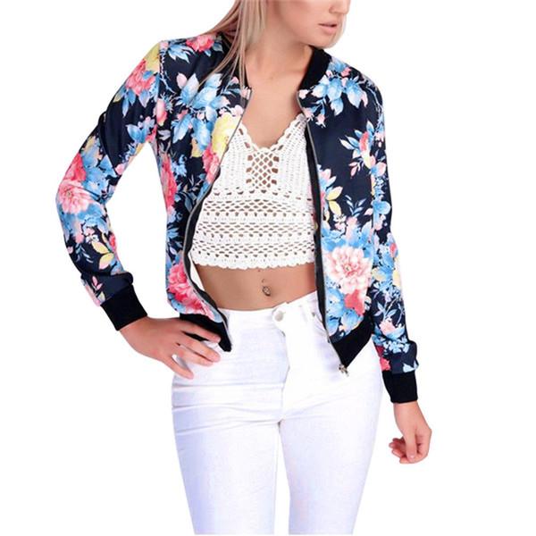 MUQGEW Womens Autumn Winter Korean Slim Fashion Jacket Coat Ladies Biker Celeb Camo Flower FLoral Print Zipper Up Bomber Jacket