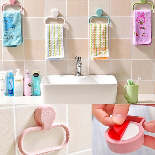 Banyo Havlu Halka 360 Salıncak Plastik Mutfak Bez Havlu Tutucu Duvara Montaj Havlu Raf Üzerinde Hiçbir Matkap (beyaz)