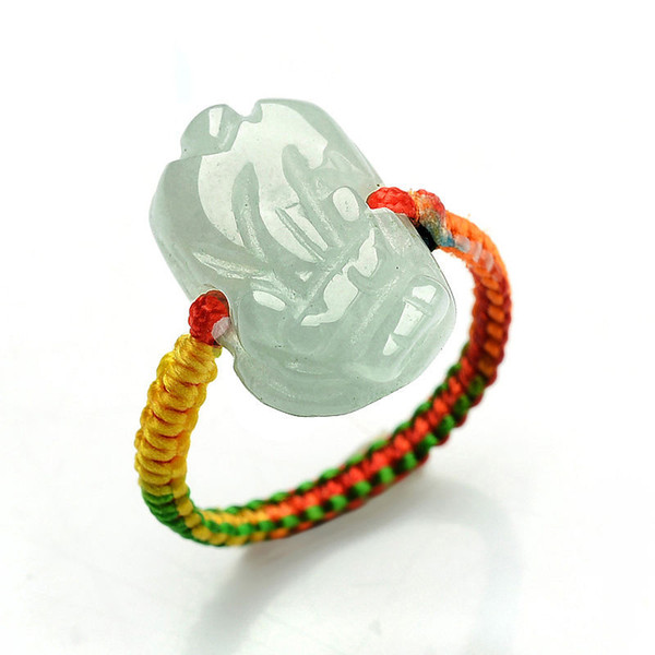 Certified Grade A Green Jadeite Jade Ring Beads RED String Hand carved PIXIU