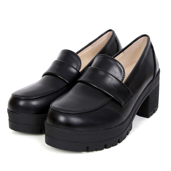 Autumn round head small leather shoes joker of England college for women's shoes with high wind restoring ancient ways with light mouth thi