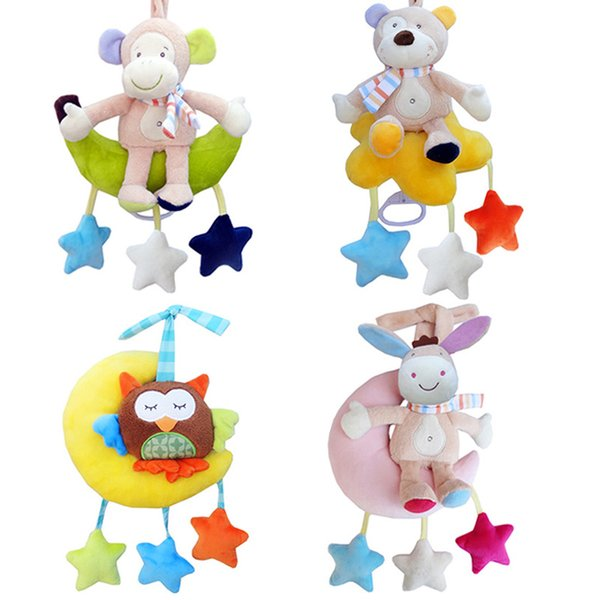 top popular Baby Toys Rattles Kids Soft Plush Toy Animal Clip Bed Hanging Bells Clockwork Music Box for Stroller Baby Crib Bells Toy T027-30 2019
