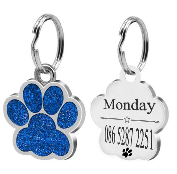 ZincAlloy Paw Shape Dog ID Tag Engraved Dog ID Name Tags Pet Collar Pendant Free Engrave Name Address and Phone Number