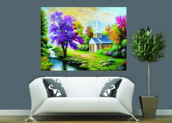 Natural Scenery Thomas Kinkade Landscape Oil Painting Reproduction High Quality Giclee Print on Canvas Modern Home Art Decor TK0061