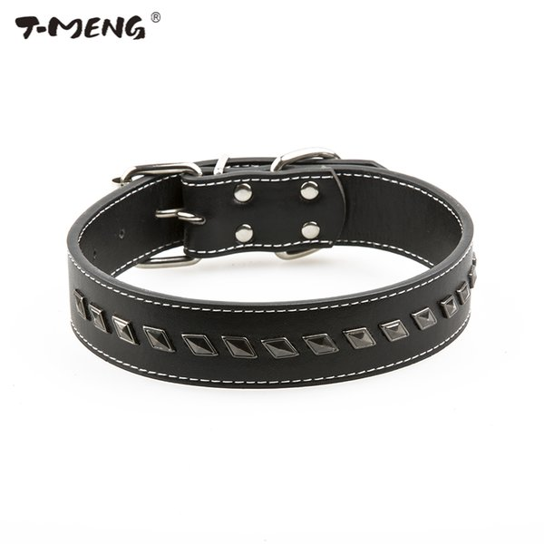 T-MENG Top Quality Pu Leather Dog Collar For Small Medium Dogs Adjustable Size Delicate Rivet Spiked Pet Product Belt Accessoire