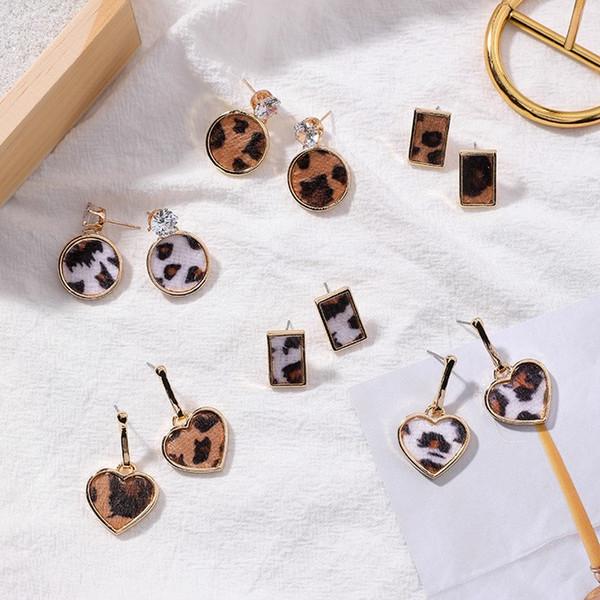 Geometric Round Square Drop Earrings Fashion Party Women Leopard Print Long Dangle Earrings Bamboo Maxi Jewelry