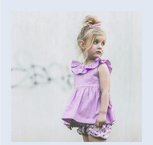 76c2331b43a62 Newborn Baby clothes INS Popular super cute Purple color Ruffle infant baby  clothes wholesale cheap price