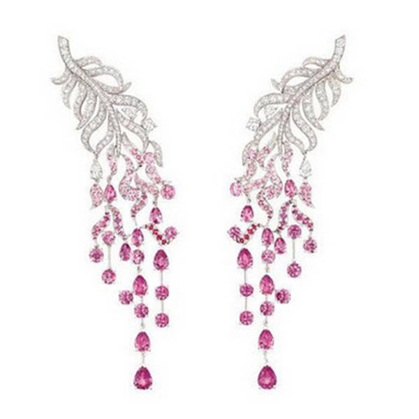Derongems_Luxury Micropaved Ruby Gemstones Feather Tessel Drop Earrings_S925 Sterling Silver Red Stone Party Earrings_Facotry Directly Sales