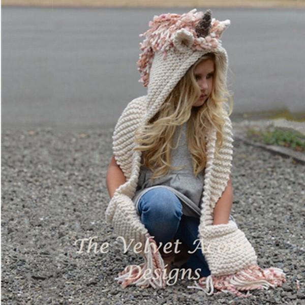Дети Единорог животных вязаная шапка шарф рождественские подарки ручной зима Шапочка шерстяная пряжа ткать детей теплые кисточки Cap 31nw bb