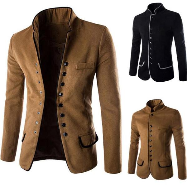 2017 Autumn Mens Fashion Blazer Casual Slim Fit Suit Jacket Chinese Tunic Male Blazers Men Coat Masculino 2 Colors