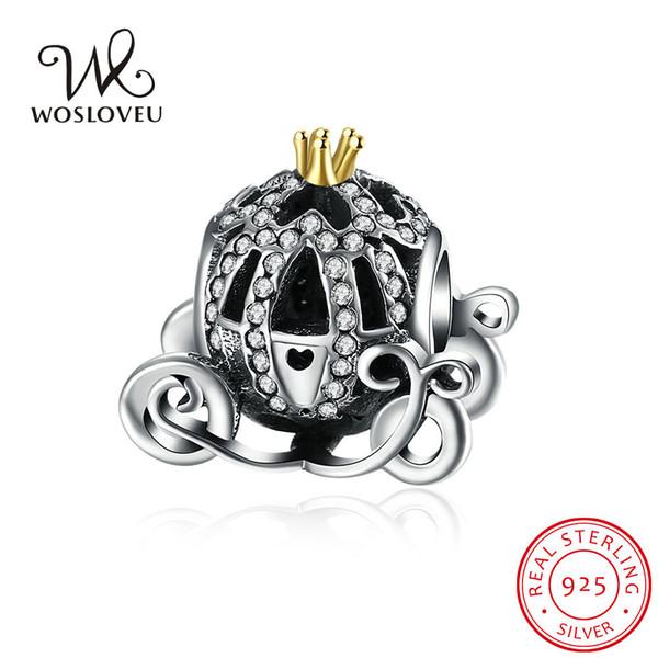 Authentic 925 Sterling Silver Cinderella Pumpkin Charm Beads Gold Plated CZ Crystal Pumpkin Bead Fits Pandora Bracelets DIY Jewelry WSCB02
