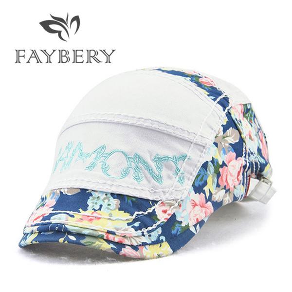 Casual Coton Motif Floral Imprimé Casquettes de Baseball Chapeau Été Sunbonnet Femmes Fashion