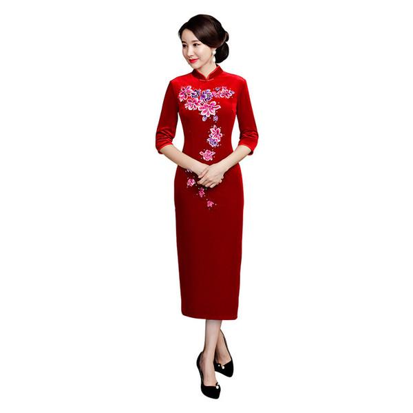 Longo qipao vermelho Outono / Inverno Veludo Cheongsams Vestido de Noite Longo De Veludo Das Mulheres Chinesas Cheongsam QiPao Vestido de Noite S-4XL