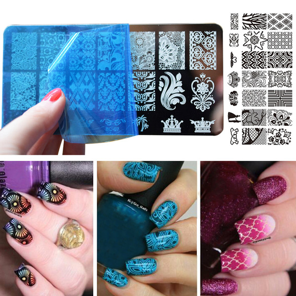 1PC 12*6cm Reusable Nail Art Template Manicure DIY Rectangle Plate Lace Flower Pattern Print Image Nails Stamping Stencil Tools