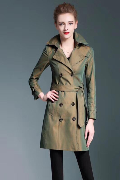 Trench coat da donna a maniche lunghe doppio petto in primavera e autunno con cappuccio in lana temperato