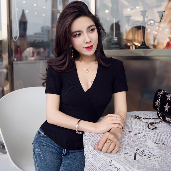 Spring summer women's new sexy cross V neck stretch low chest tight show thin knitted sweater short sleeve blouse T shirt women