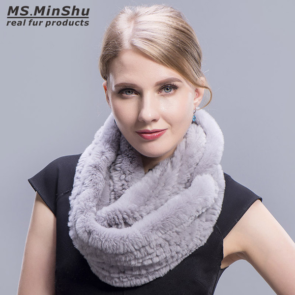 Genuine Rex Rabbit Fur Scarf Loop type Hand Knit Infinite Scarves Women Real Rabbit Fur Shawl Ms.MinShu