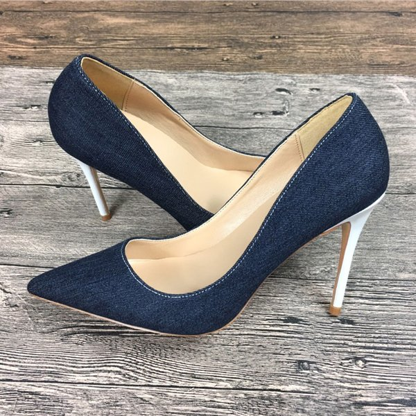 New women's denim high heels shoes exclusive patent brand Ms. 10 cm 12 cm female high heels