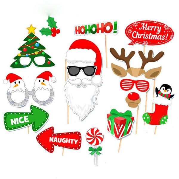 DIY фото стенд реквизит эльфы Лось Рог усы губы подарок Stick Рождественская вечеринка Санта-Клаус олень форма фотографии реквизит