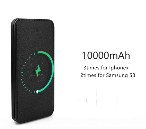 10000mAh QI Wireless Charger 2A Dual USB Power Bank For iPhone X 8 Samsung S9 Battery Charger 5W Wireless Charging Pad
