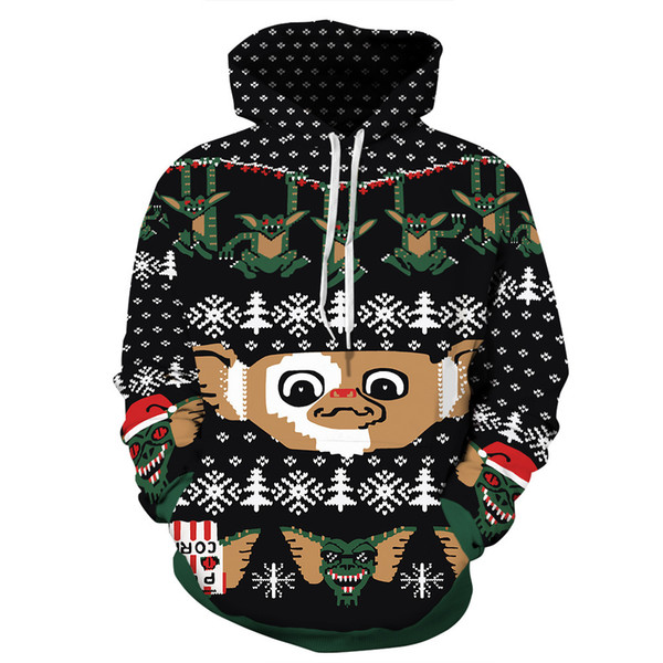 Christmas Gala 3D Print Little Monster Jackets Men/women Hiphop Streetwear Hoodies Pullover Hat Sweatshirts Boys Black Outfits
