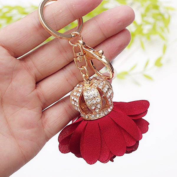 Buy Bulk From China Diamond Flower Bag Decoration pendant, leather petal, alloy keychain, car key chain, small gift
